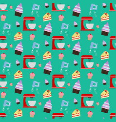 Cupcake and mixer pattern vector