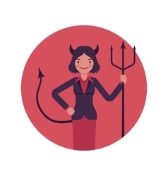 Devil woman in a red circle vector