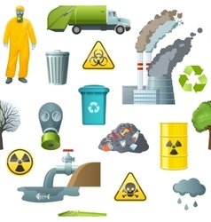 Environmental pollution cartoon pattern vector