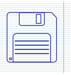 Floppy disk sign navy line icon on vector