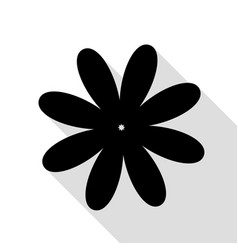 flower sign black icon with flat vector image vector image