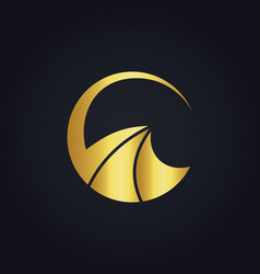 Gold abstract round business logo vector