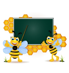 happy bee cartoon with blank board vector image