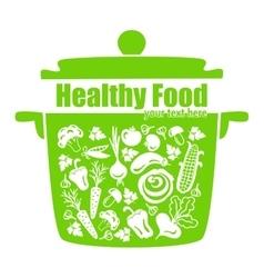 Healthy food vegetables in the pan vector image