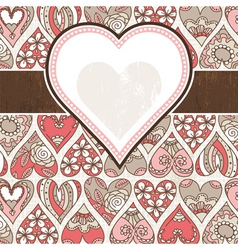 label on background with valentines hearts vector image vector image