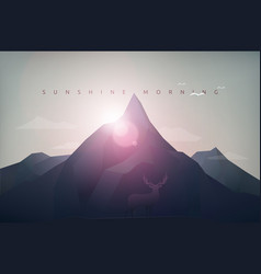 mountain sunshine morning vector image vector image