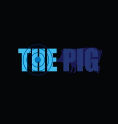 pig silhouette in blue vector image