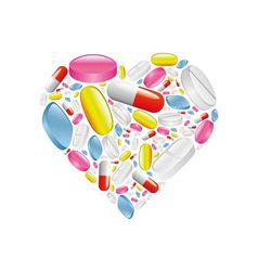 pills and capsule in heart vector image vector image