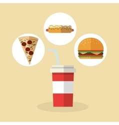 Pizza hot dog and hamburger design vector image vector image