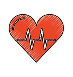 scribble heart beat pulse vector image vector image