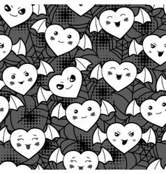 Seamless halloween kawaii cartoon pattern with vector image vector image