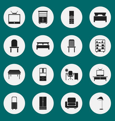 Set of 16 editable interior icons includes vector
