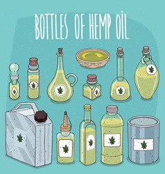 Set of containers with hemp seed oil vector