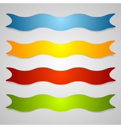Set of wavy label ribbons vector