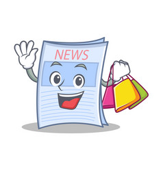 shopping newspaper character cartoon style vector image