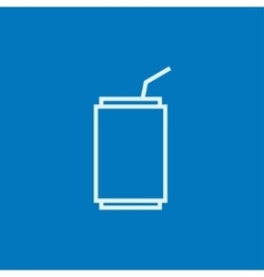 Soda can with drinking straw line icon vector image vector image