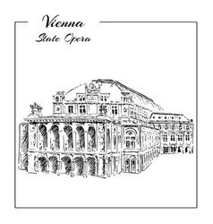 vienna state opera house austria wiener vector image vector image
