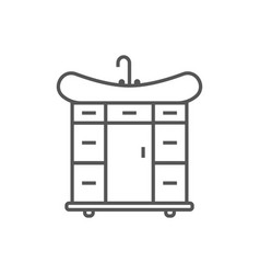 Wash basin isolated icon in linear style vector