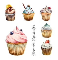 Watercolor cupcakes set isolated vector image vector image
