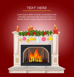 winter fireplace chimney and christmas presents vector image vector image