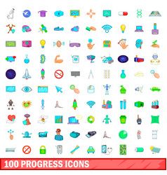 100 progress icons set cartoon style vector