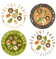 Grunge labels set for healthy food restaurant vector