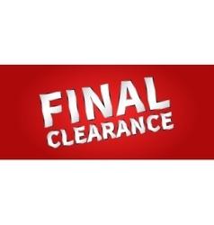 Banner final clearance horizontal vector