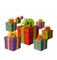 Colorful group of gift boxes vector image