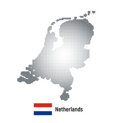 Netherlands map with national flag vector