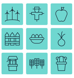 Set of 9 garden icons includes barrier windmill vector