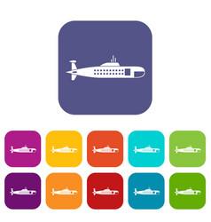 Military submarine icons set vector
