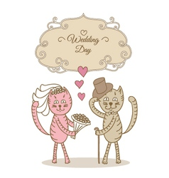 Card wedding day wedding cat vector