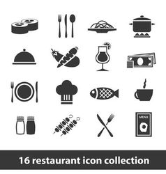 16 restaurant icon collection vector
