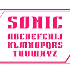 Stencil plate serif font bold vector