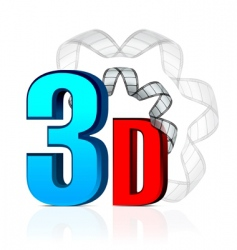 3d cinema with film strip vector image vector image
