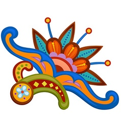 Ethnic ornamented multicolor element of pattern vector
