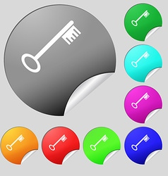 Key icon sign set of eight multi colored round vector