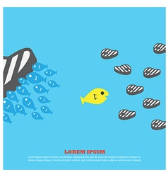 Fish eat meat for business vector