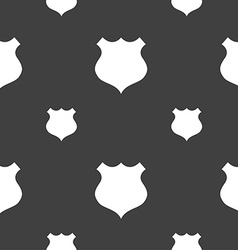 Shield icon sign seamless pattern on a gray vector