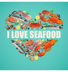 Seafood on blue background vector