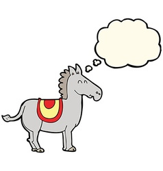 Cartoon donkey with thought bubble vector