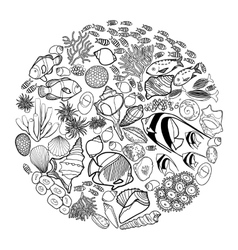 Ocean life in the circle shape vector