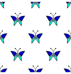 Pattern with blue butterflies vector