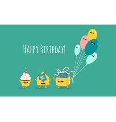 Gift invitation cake balloons vector