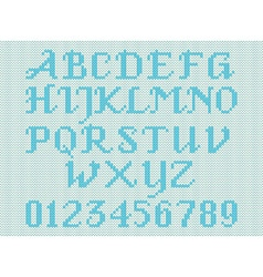 Blue knitted alphabet and figures vector