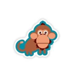 Paper sticker on white background small chimpanzee vector
