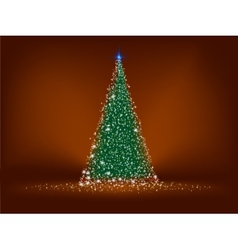 Abstract green christmas tree on brown eps 8 vector