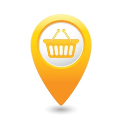 basket icon yellow map pointer vector image vector image