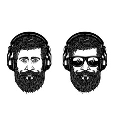 bearded man face with sun glases and headphones vector image vector image