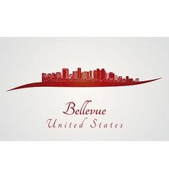 Bellevue skyline in red vector image vector image